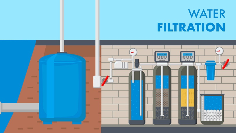 Water Filtration System Text Vector Web Banner. Water Supply and Treatment Technology. Filter in Cut. Pipes in Underground Basement. Reservoir, Tank with Liquid. Sewage Purification Poster